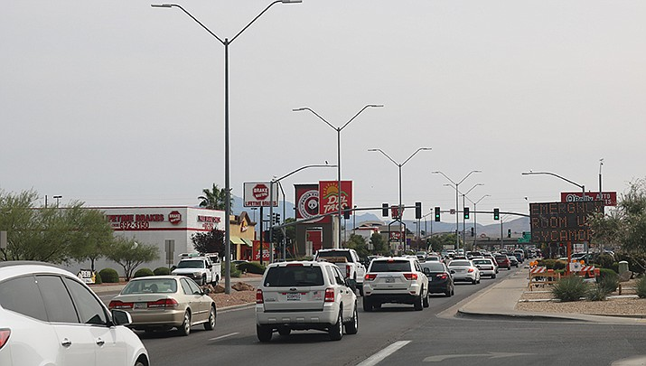 Insurify, a car insurance quotes-comparison website, has selected Kingman as the Safest Driving City in Arizona after analyzing more than 2.5 million car insurance applications. Traffic is shown above on Stockton Hill Road. (Photo by Travis Rains/Kingman Miner)