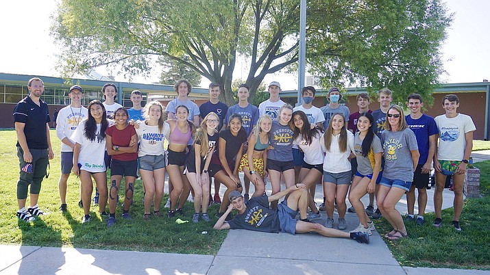The Prescott cross-country team takes a group photo before a team practice on Thursday, Sept. 24, 2020, in Prescott. The Badgers will be a top contender for the 4A Conference state title this season. (Aaron Valdez/Courier)