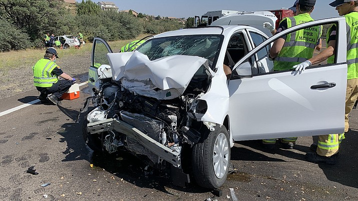 Both drivers were injured in a two-car collision on Pioneer Parkway and Commerce Drive Thursday morning, Sept. 24, 2020. (Prescott Police Department/Courtesy)