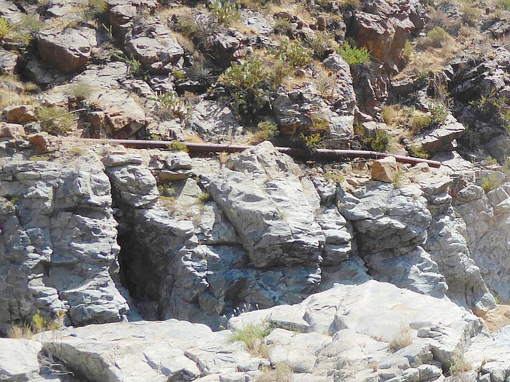 First visible remains of the pipeline looking across the canyon. (Nigel Reynolds/Courtesy)