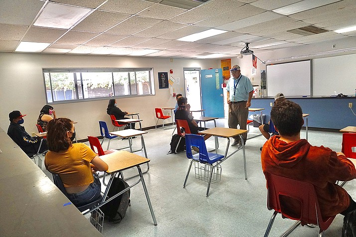 Class is in session for Chino Valley High School science teacher John Vreyens as students are spaced out inside the classroom to adhere to social-distancing guidelines during Chino Valley Unified Schools District's first day of hybrid instruction on Tuesday, Sept. 8, 2020. (Aaron Valdez/Courier, file)