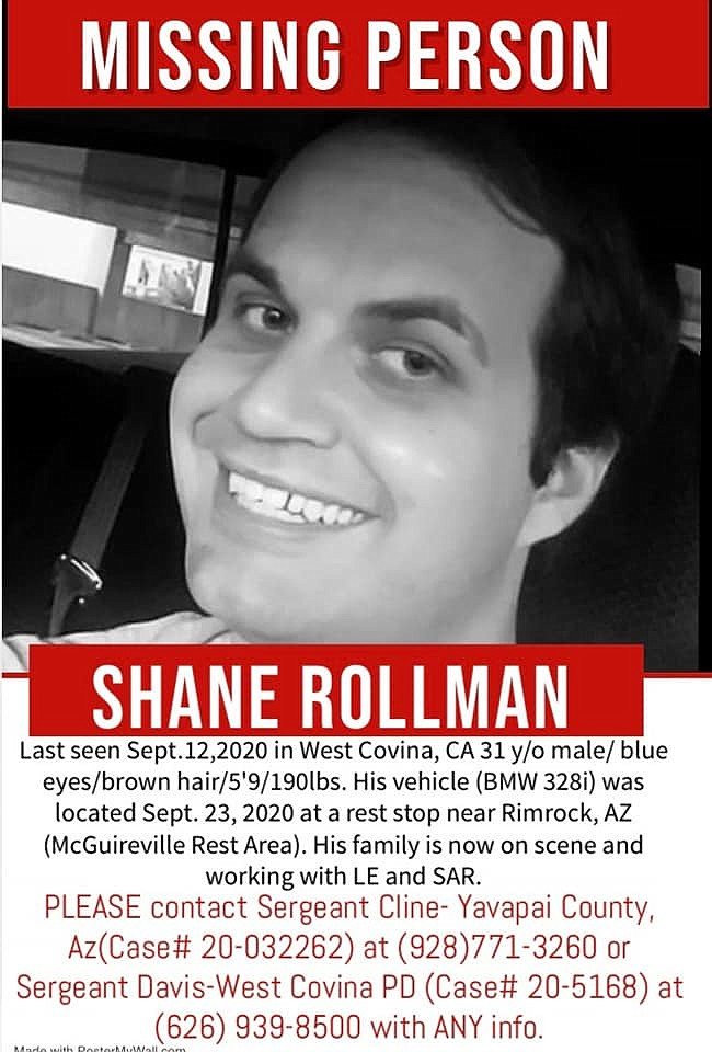 Shane Rollman, 31, shopped at Bashas' supermarket in Camp Verde and fueled up at a Chevron gas station Sept. 13. He hasn't been seen or heard from since.