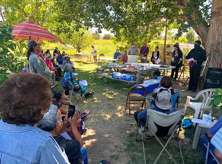 President Jonathan Nez and Attorney General Doreen N. McPaul meeting with local farmers in the Shiprock area to hear their concerns on Sept. 3, 2020. (Photo/OPVP)
