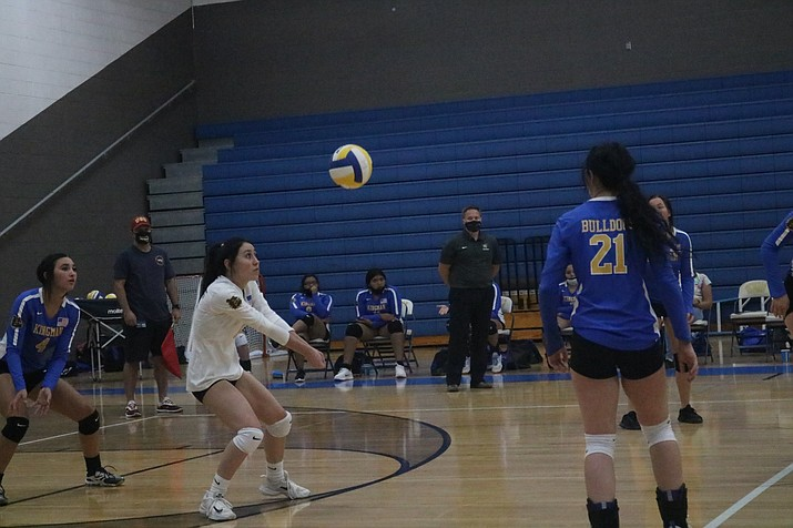Kingman Academy of Learning High School beat Kingman, shown above, in high school girls volleyball competition on Friday, Sept. 25. (Miner file photo)