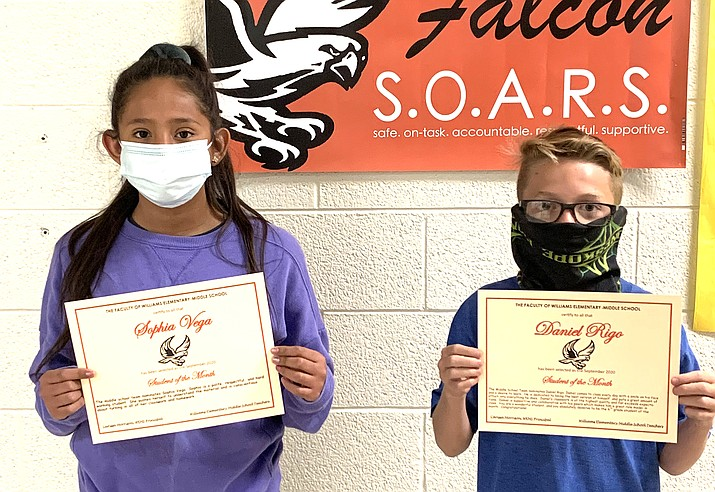 The middle school Students of the Month for sixth grade at Williams Elementary-Middle School are Daniel Rigo and Sophia Vega. (Photos/WEMS)
