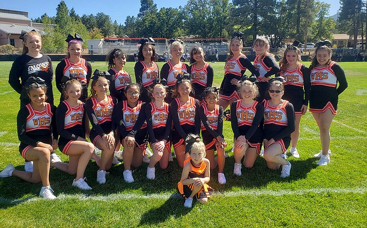 The Williams Elementary-Middle School cheer team took to the field Oct. 3. Back row left: Mikayla Cox, Rhiannon Terry, Alina Velazquez, Berenice Hernandez,  Luciana  Pearson, Bianey Ramirez, Samantha Racher, Austin Garcia, Danika Howe and Joy Gonzalez. Front row from left: Elizabeth Ortiz, Talyon Town, Sierra Oswald, Mireya Hernandez, Faith Jensen, Reina Rocha, Haylie Lopez, Taylor Murphy and Madilyn Murphy. Bitty Cheerleader: Indie Murphy. Not pictured Erika Wolf. Coaches are Jennifer Cox, Melonie Daly and Lacey Pearson.  Fitness Coach is Melissa Montoya (Submitted photo)