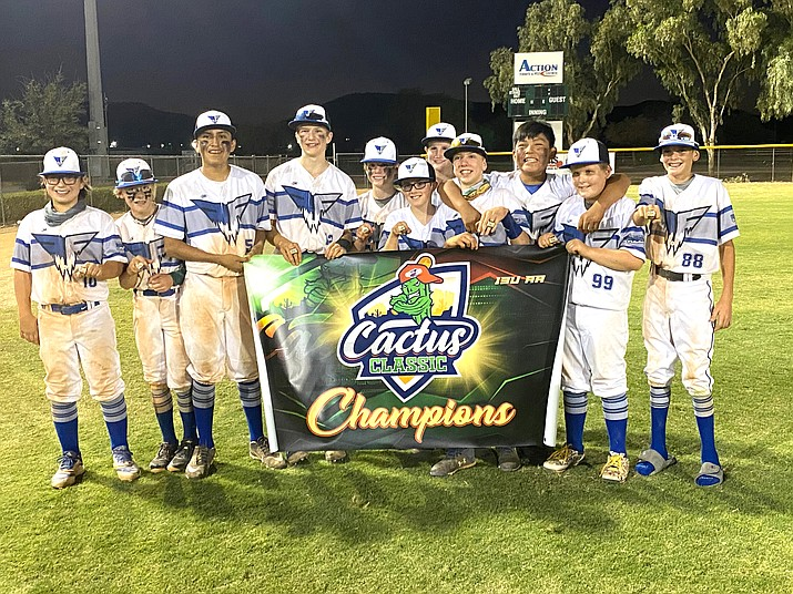 My Freeze 13U team took home the title at the Cactus Classic in Phoenix Sept. 26. The team, which plays throughout the state, includes local youths Jace Maebe, Parker Reed and Aiden Ubel. (Submitted photo)