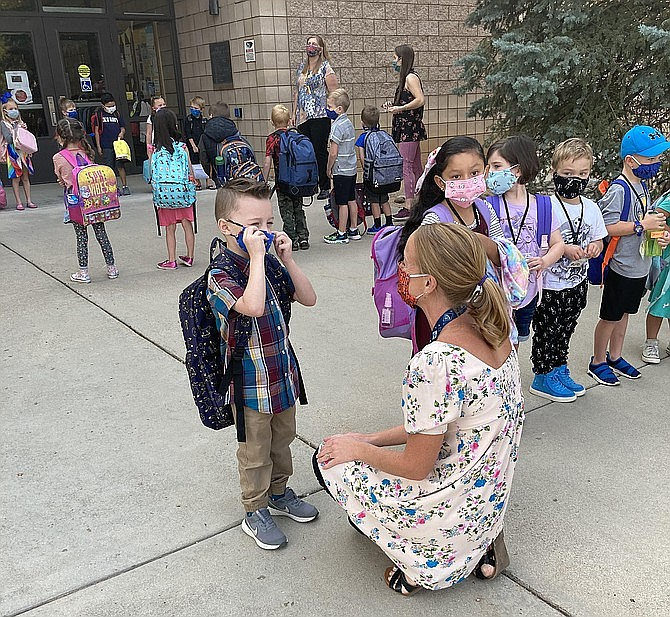 The first day of hybrid education at Abia Judd Elementary this past month. All students and staff were wearing cloth masks, per district policy. (Nanci Hutson/Courier)
