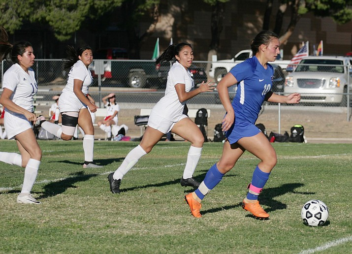 Esperanza Perez scored two of Camp Verde's four first-half goals Thursday at home against Sedona-Red Rock. Camp Verde beat the Scorpions 6-0. VVN/Bill Helm