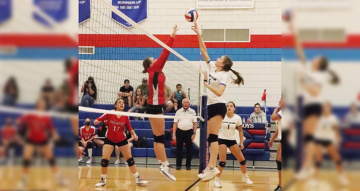 Tuesday, Camp Verde hosts the Valley Christian Trojans. Pictured, senior Lily Smejkal, Sept. 24 against Tonopah Valley. Photo courtesy Tina Scott, Camp Verde High School