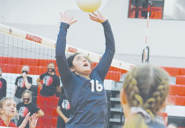 Geneva Altamirano sets the ball for Mingus Union in a recent match. The Marauders are home Tuesday for a 6 p.m. match against Bradshaw Mountain. VVN/Jason W. Brooks