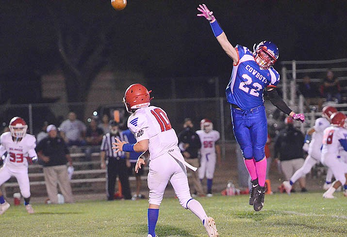 Camp Verde defender Kayden Boggess leaps in front of a Holbrook pass attempt in his team's 52-36 win Friday. The Cowboys (1-1) are set to play at Scottsdale Christian Academy on Friday, Oct. 23. VVN/Vyto Starinskas