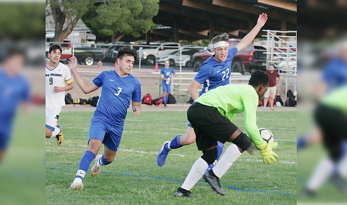 Jesus Reyes (No. 3) and Jonah Loveall (No. 22) go for the ball in Camp Verde's Sept. Sept. 24 home game against Ash Fork. At noon Saturday, Oct. 17, the 3-2-1 Camp Verde boys soccer team faces the 4-1 Willcox Cowboys in a non-conference game at Sam Hammerstrom Field in Camp Verde. VVN/Bill Helm