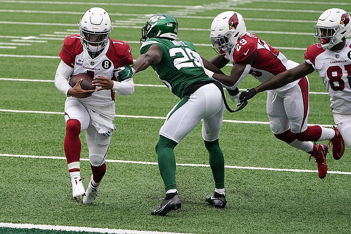 Arizona Cardinals quarterback Kyler Murray (1) runs in a touchdown against New York Jets free safety Marcus Maye (20) during the first half of an NFL football game, Sunday, Oct. 11, 2020, in East Rutherford. (Seth Wenig/AP)