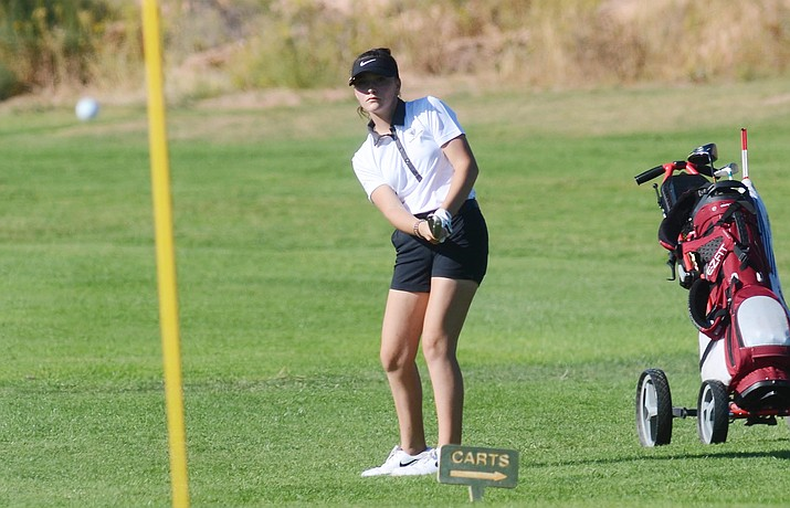 If the season ended right now, the Mingus High School Girls Golf team would be in the state tournament for the first time. Pictured, freshman Marissa Flowers, VVN/Vyto Starinskas