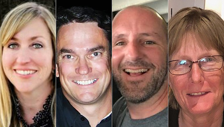 Prescott voters will select from four Prescott Unified School District Governing Board candidates (l-r): Hilary Cannizzaro, Andy Fraher, John Mackin and Kara Woods. Incumbents Scott Hicks and Tina Seeley chose not to seek re-election. (Courtesy photos)