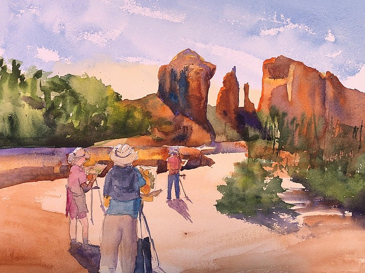 Cathedral Rock watercolor by Sandra Beck