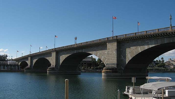 The London Bridge, which once crossed the Thames River in London, England, was moved to Lake Havasu City 49 years ago. (Photo by Ken Lund, cc-by-sa-2.0, https://bit.ly/2Irohiu)