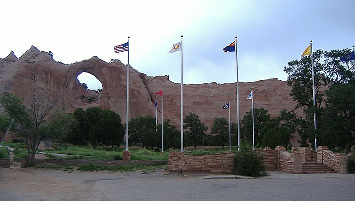 The Navajo nation remains under a shelter-in-place order and weekend lockdowns. The tribe reported six more COVID-19 deaths on Monday, Oct. 12. Window Rock is shown above. (Photo by Peter K., cc-sa-by-3.0, https://bit.ly/3cbGDO8)