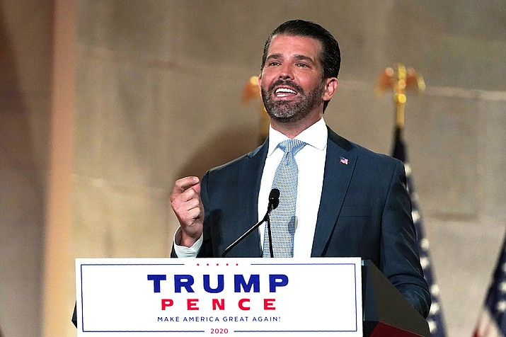 Donald Trump Jr., speaks as he tapes his speech for the first day of the Republican National Convention from the Andrew W. Mellon Auditorium in Washington Aug. 24. Trump Jr. is scheduled to speak at a Native Americans for Trump rally in Williams, Arizona Oct. 15. (AP Photo/Susan Walsh)