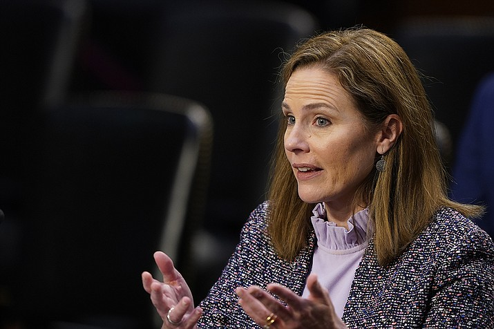 Supreme Court nominee Amy Coney Barrett speaks during a confirmation hearing before the Senate Judiciary Committee, Wednesday, Oct. 14, 2020, on Capitol Hill in Washington. (Susan Walsh, AP Pool)