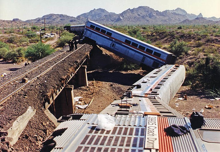 On October 9, 1995, the Amtrak Sunset Limited passenger train was derailed at around 1:35 a.m. in a remote desert area approximately 70 miles southwest of Phoenix. The FBI continues to investigate this act of sabotage. A reward of up to $310,000 remains available. (FBI)