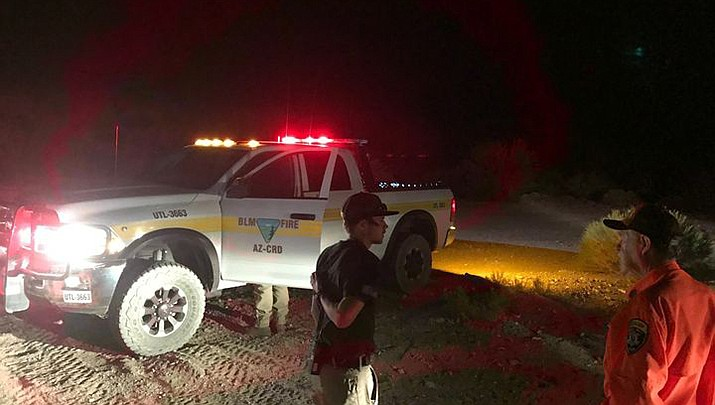 Rescuers from multiple agencies conducted a search after receiving a report of a small aircraft in distress in the Meadview area the evening of Tuesday, Oct. 13. Nothing was found. (MCSO Search and Rescue photo)