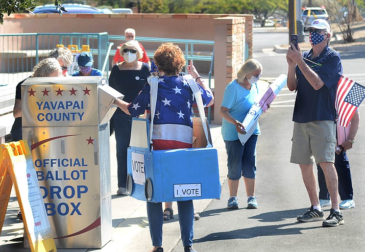 "People in about 45 vehicles took part in a Parade to the Polls on Tuesday morning. They drove to the voting ballot boxes in Cottonwood and Sedona to generate ""enthusiasm and awareness"" for early voting and that ballot boxes are safe, according to organizers. VVN/Vyto Starinskas"
