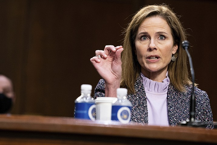 Supreme Court nominee Amy Coney Barrett speaks during a confirmation hearing before the Senate Judiciary Committee, Wednesday, Oct. 14, 2020, on Capitol Hill in Washington. (Anna Moneymaker/The New York Times via AP, Pool)