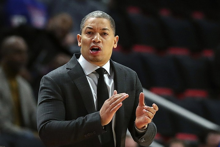 In this Thursday, Oct. 25, 2018, file photo, Cleveland Cavaliers head coach Tyronn Lue gestures during the first half of an NBA basketball game against the Detroit Pistons, in Detroit. Tyronn Lue has agreed in principle to become the next coach of the Los Angeles Clippers. Final terms were still being worked on, according to the person who spoke to The Associated Press on condition of anonymity Thursday, Oct. 15, 2020, because no contract had been signed. (Carlos Osorio, AP File)