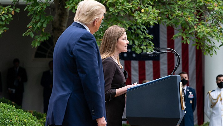 U.S. Supreme Court nominee Amy Coney Barrett talks to a crowd at the White House after her nomination announcement. The Senate Judiciary Committee, after three days of hearings, will vote on her nomination on Thursday, Oct. 22. (Official White House photo/Public domain)