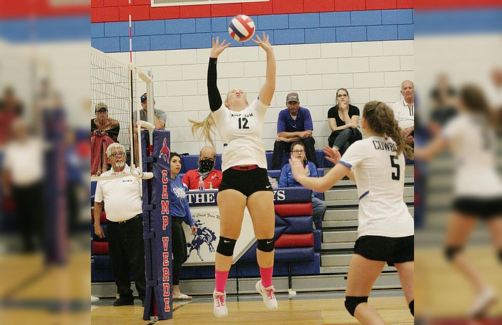 Camp Verde senior Ashlee Bueler (No. 12) had six kills Thursday, as the Lady Cowboys defeated Chino Valley 3-1 for the Cowboys' first win of the season. VVN/Bill Helm