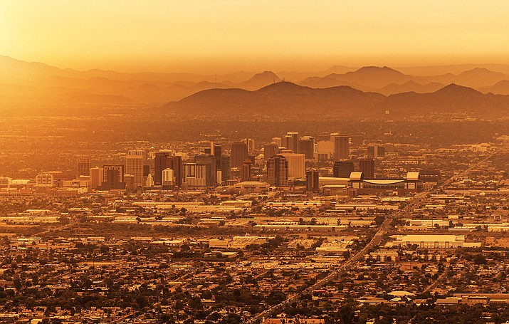 Phoenix is shown in 2019. Arizona will experience more days of extreme heat in the coming decade, according to an Arizona State University study that comes on the heels of the state's hottest summer on record. But researchers are looking for ways to mitigate a hotter, drier climate. (Adobe file photo by Tomasz Zajda)