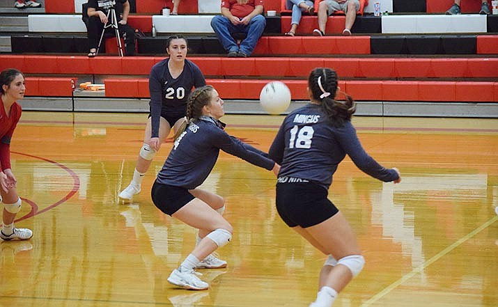 Mingus Union's Mackenzie Figy makes a dig in a recent match. The Marauders are set to host Prescott on Tuesday at 6 p.m. VVN/Jason W. Brooks