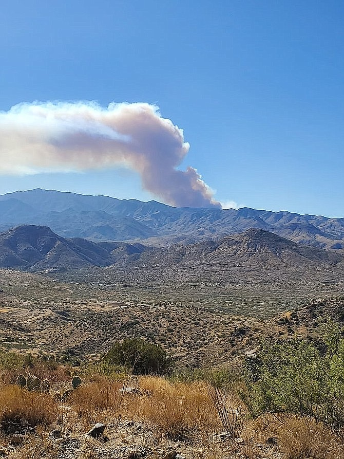 The Horse wildland fire's plume taken from Hilltop above Cleator. (Courtesy of Yavapai County Sheriff Office)