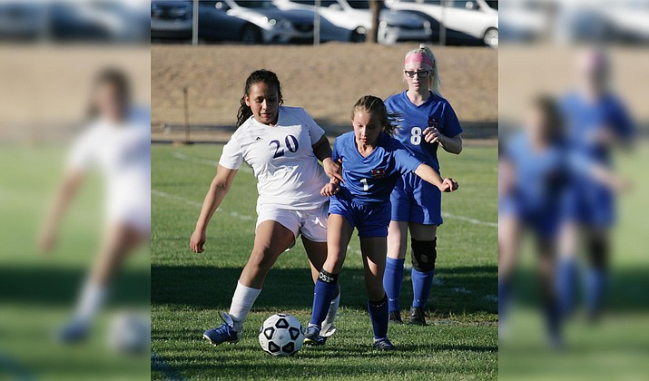 Camp Verde sophomore Hailey Pierce moves the ball upfield in a recent game. Thursday, Camp Verde hosts Holbrook at 6 p.m. at Sam Hammerstrom Field. Camp Verde is now 3-6 on the year. VVN/Bill Helm