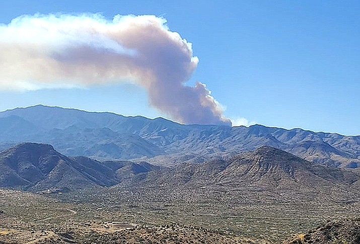 The Horse wildland fire's plume taken from Hilltop above Cleator. (YCSO)