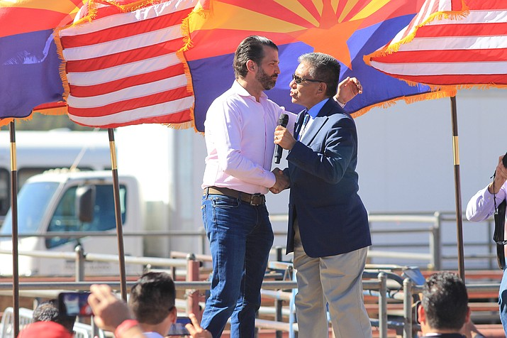 Donald Trump Jr. is greeted by Navajo Nation Vice President Myron Lizer at a Trump rally in Williams, Arizona Oct. 15. (Loretta McKenney/NHO)