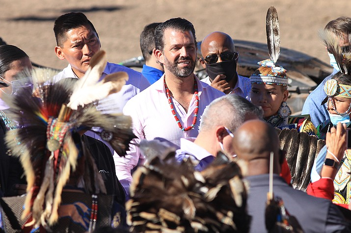 Donald Trump Jr. is flanked by former Arizona State Senator Carlyle Begay of Ganado, Arizona during a Native Americans for Trump rally in Williams, Arizona Oct. 15. (Loretta McKenney/WGCN)