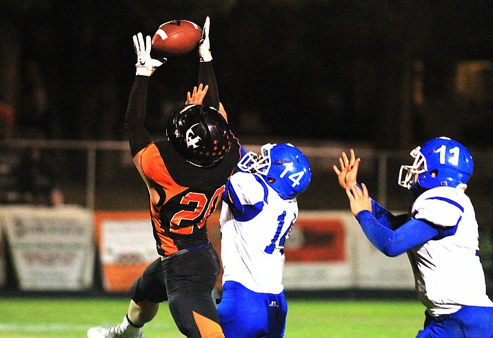 Viking Blake Smith intercepts the ball during the Oct. 16 game with Fredonia. (Wendy Howell/WGCN)