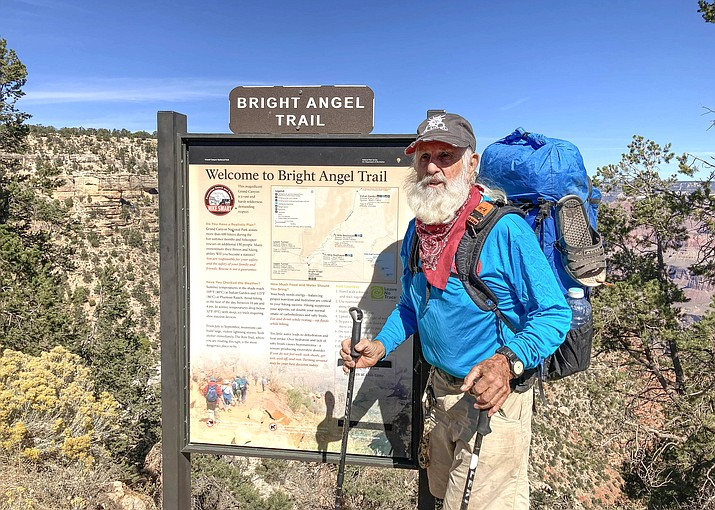 Dale Sanders, 86, is considered the oldest person to hike rim to rim to rim at the Grand Canyon. Sanders completed the hike with a group of friends Oct. 10. (Photos courtesy of Jack Rinaldi)