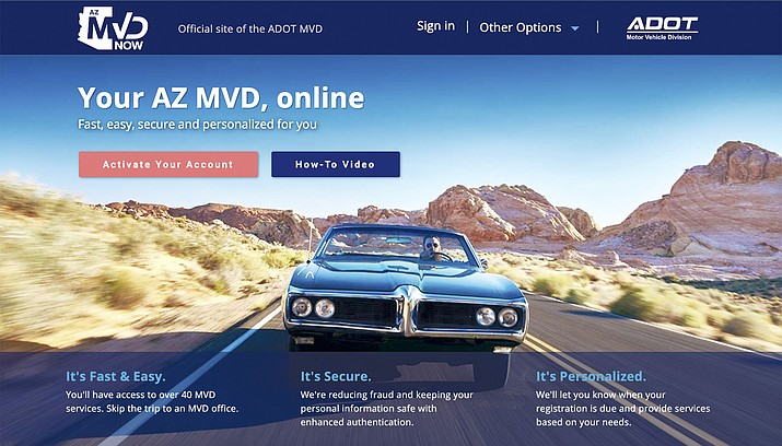 Azmvdnow.gov and ServiceArizona.com are the only authorized web portals for the Motor Vehicle Division. ADOT warns of potential scams happening to Arizona motorists. (MVD website screenshot)