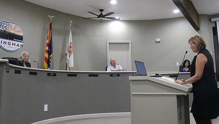 Rep. Regina Cobb (R-Kingman) addresses Kingman City Council prior to its vote to remove the mask mandate at its Tuesday, Oct. 20 meeting. (Photo by Travis Rains/Kingman Miner)