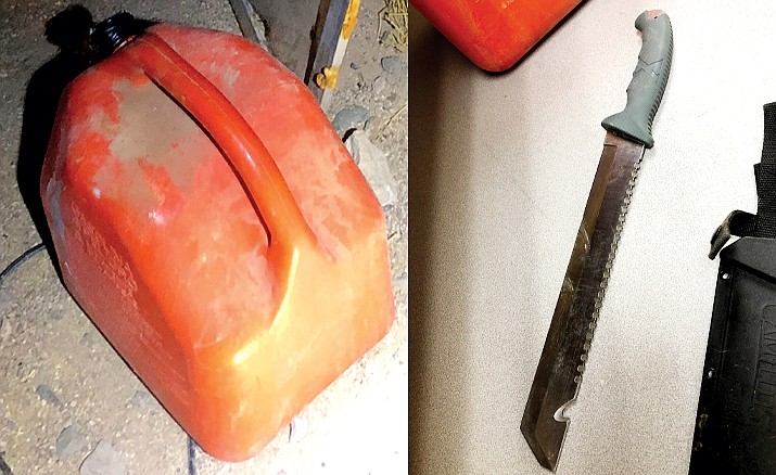 This gas can and machete were found at a Rimrock trailer where the Yavapai County Sheriff's Office say Jerry Ray Follett, 34, poured gasoline on items inside and on a family member, and tried to light a fire. His charges include first-degree attempted murder. Courtesy of YCSO