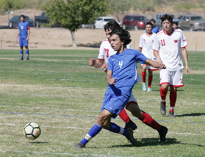Camp Verde's Gary Ortega (pictured earlier in the season) scored his team-leading 11th goal in the first half of the Cowboys' 4-0 win Wednesday in Ash Fork. Saturday, Camp Verde hosts the 13-2 Blue Ridge Yellow Jackets. VVN/Bill Helm