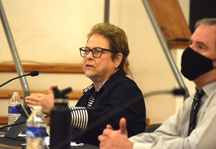 Cottonwood City Council member Debbie Wilden asks a question during Tuesday's regular meeting. The council sent a proposed RV park ordinance back to staff to have a default six-month maximum stay removed it. VVN/Jason W. Brooks