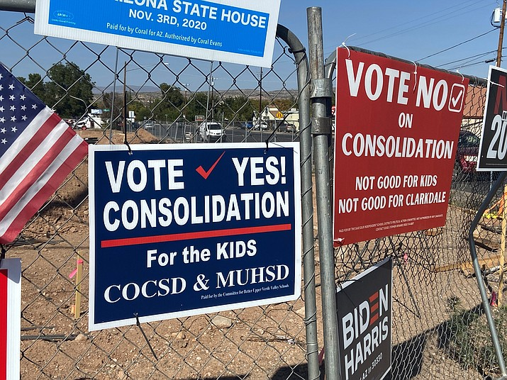 The Upper Verde's school district consolidation election has dominated this year's political signage in the Cottonwood area. VVN/Bill Helm