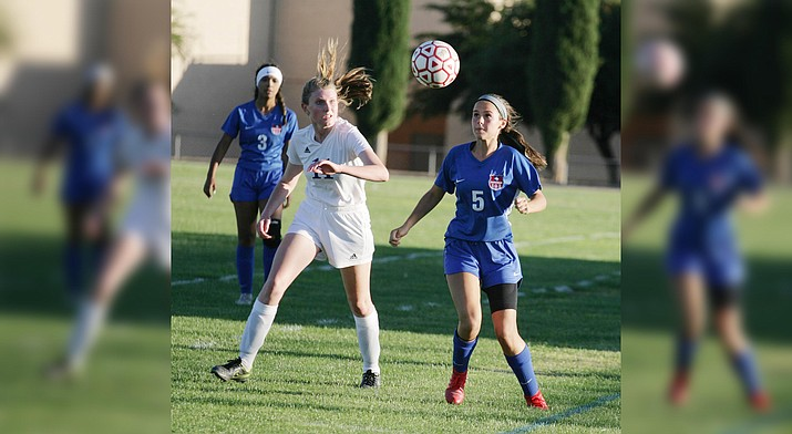 Camp Verde sophomore Mckinlee Brewer, pictured earlier in the season, scored the Lady Cowboys' first goal in Thursday's 3-0 win at home against Holbrook. Camp Verde finishes its regular season Monday at Payson. VVN/Bill Helm