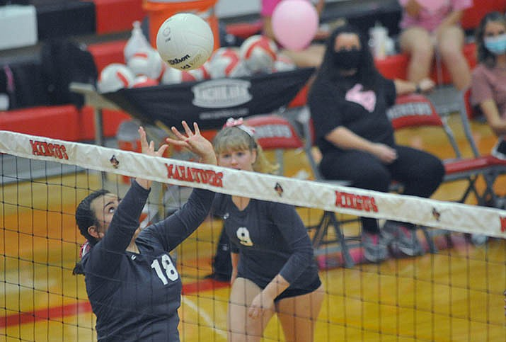 Mingus freshman Makela Martinez sets the ball in Tuesday's match against Prescott, with teammate Shelby Link running in behind her. The Marauders lost twice this week and are set to play at Flagstaff and Bradshaw Mountain next week. VVN/Vyto Starinskas