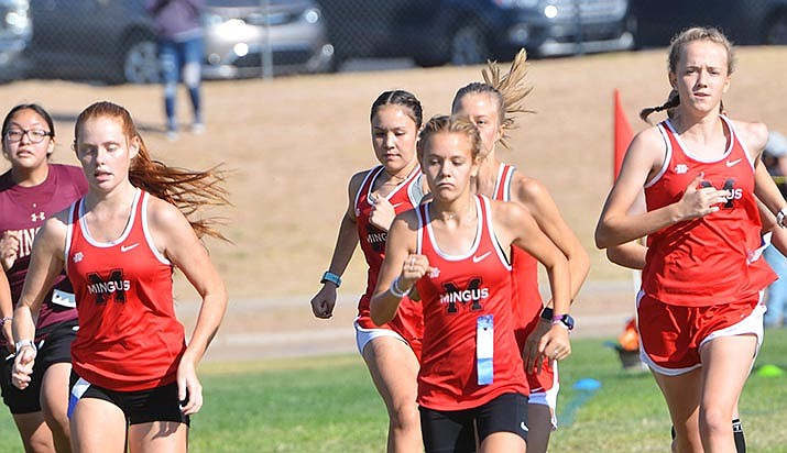 The Mingus Union girls cross country team starts a race in a recent meet in Camp Verde. The Mingus girls placed third and the boys were fourth Friday at the Holbrook Invitational. VVN file photo